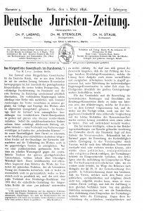 Deutsche Juristenzeitung, 1. März 1896