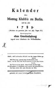 Kalender des Montag Klubb's zu Berlin
