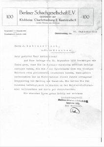 Empfehlungsschreiben der Berliner Schachgesellschaft